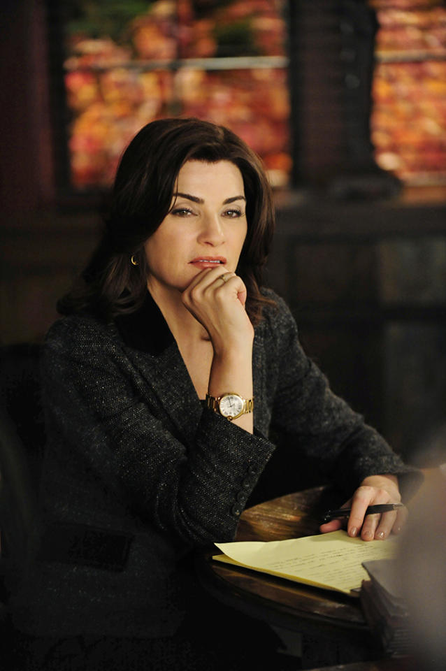 """Boom De Yah Da""-- Alicia (Julianna Margulies) squares off once again with Louis Canning as she tries to depose a CEO, on ""The Good Wife."""
