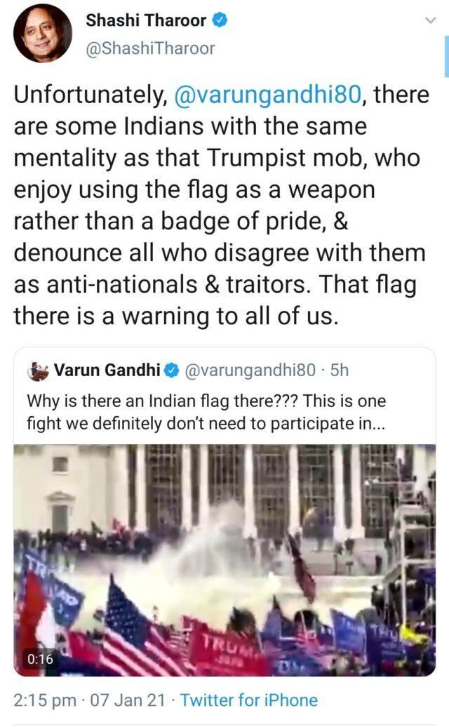 Dr. Shashi Tharoor pointing at the essence of nationalism in his tweet