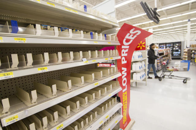 TORONTO, March 21, 2020 -- Empty shelves are seen at a Walmart pharmacy in Toronto, Canada, March 21, 2020. With shortages of many items like face masks, surgical gowns, protective eye-wear and hand sanitizers, Canada's Ontario Provincial Premier Doug Ford appealed to the province's manufacturing sector to help produce key medical supplies on Saturday. (Photo by Zou Zheng/Xinhua via Getty) (Xinhua/Zou Zheng via Getty Images)