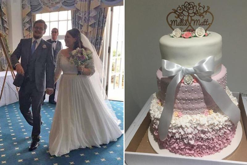 On the left, a photo of the newlyweds. On the right, a photo of the original cake before it collapsed. (Courtesy of Millie Maltby)