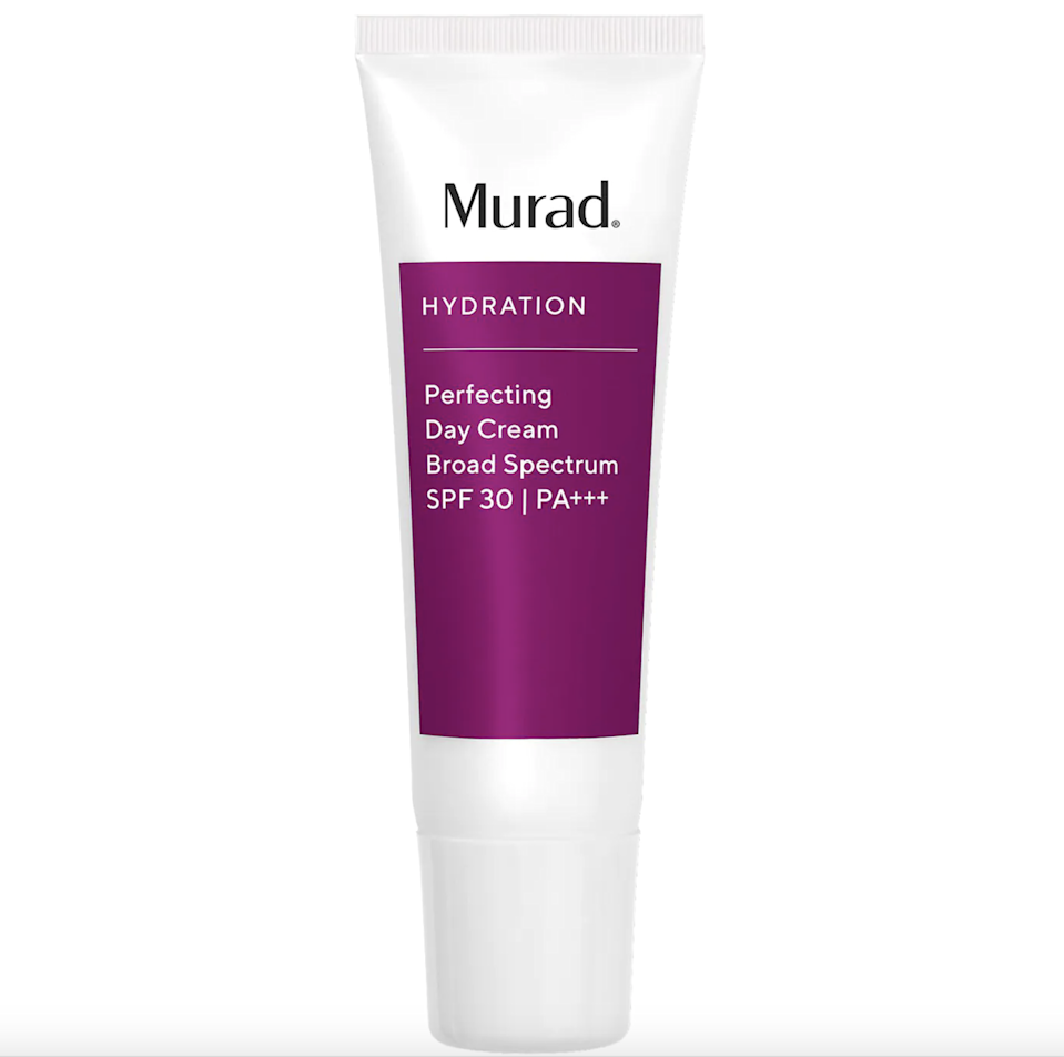 """<h2>Murad Perfecting Day Cream Broad Spectrum SPF 30</h2><br>If bright, juicy fruits spring to mind as soon as you see this packaging, you're not crazy: This sun-protecting cream packs in pomegranate and grape seed extracts to condition and keep skin hydrated all day long.<br><br><strong>Murad</strong> Perfecting Day Cream Broad Spectrum SPF 30 PA+++, $, available at <a href=""""https://go.skimresources.com/?id=30283X879131&url=https%3A%2F%2Fwww.sephora.com%2Fproduct%2Fperfecting-day-cream-broad-spectrum-spf-30-pa-P4039%3Ficid2%3Dproducts%2520grid%3Ap4039%3Aproduct"""" rel=""""nofollow noopener"""" target=""""_blank"""" data-ylk=""""slk:Sephora"""" class=""""link rapid-noclick-resp"""">Sephora</a>"""