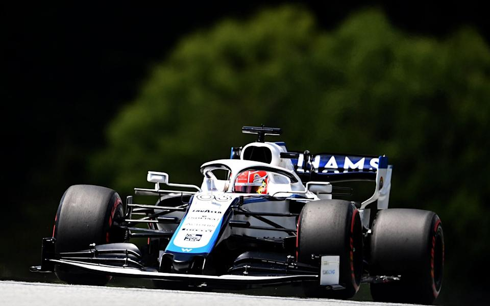 Williams' British driver George Russell steers his car during the third practice session at the Austrian Formula One Grand Prix on July 4, 2020 in Spielberg, Austria. - Seven months after they last competed in earnest, the Formula One circus will push a post-lockdown re-set button to open the 2020 season in Austria on July 5 - Joe Klamar / various sources / AFP