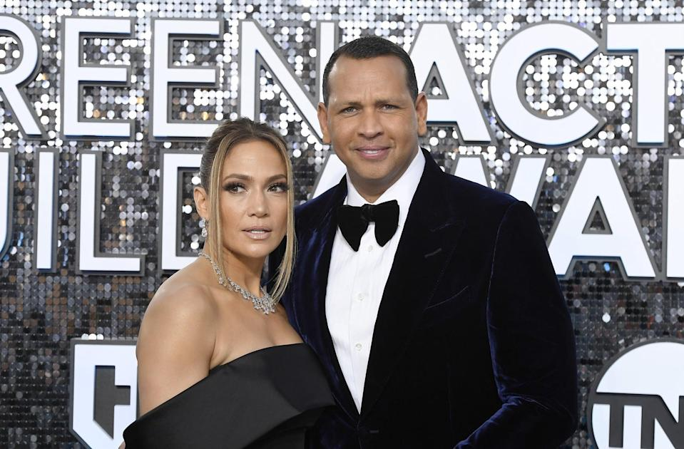 LOS ANGELES, CALIFORNIA - JANUARY 19: (L-R) Jennifer Lopez and Alex Rodriguez attend the 26th Annual Screen Actors Guild Awards at The Shrine Auditorium on January 19, 2020 in Los Angeles, California. (Photo by Frazer Harrison/Getty Images)