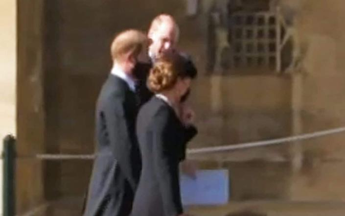 The Dukes of Cambridge and Sussex chat after the funeral of the Duke of Edinburgh