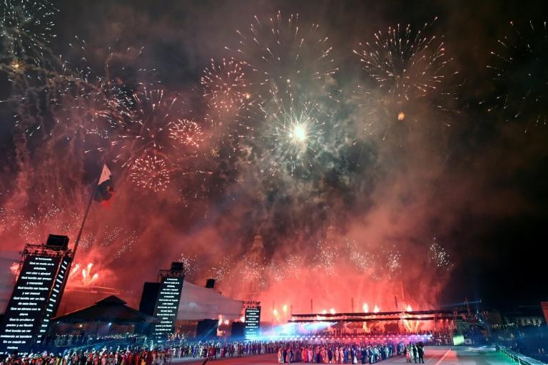 Mexico celebrated 200 years of independence from Spain with an event featuring fireworks, theatre and multimedia displays (AFP/ALFREDO ESTRELLA)