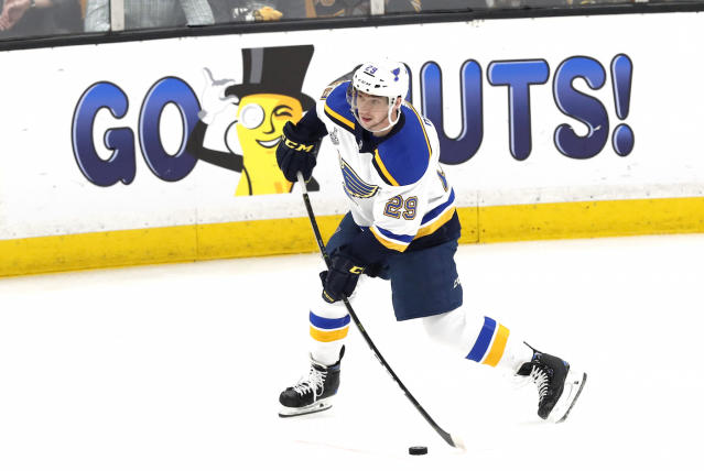 St. Louis Blues defenceman Vince Dunn surprised a fan battling colon cancer with the Stanley Cup and other gifts. (Photo by Fred Kfoury III/Icon Sportswire via Getty Images)