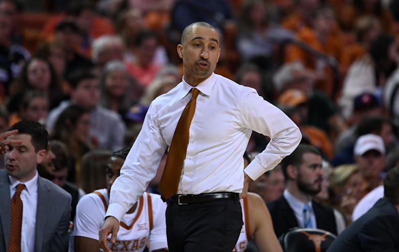 AUSTIN, TX - JANUARY 08: Texas Longhorns head coach Shaka Smart watches action during game against the Oklahoma Sooners on January 8, 2020, at the Frank Erwin Center in Austin, TX. (Photo by John Rivera/Icon Sportswire via Getty Images)