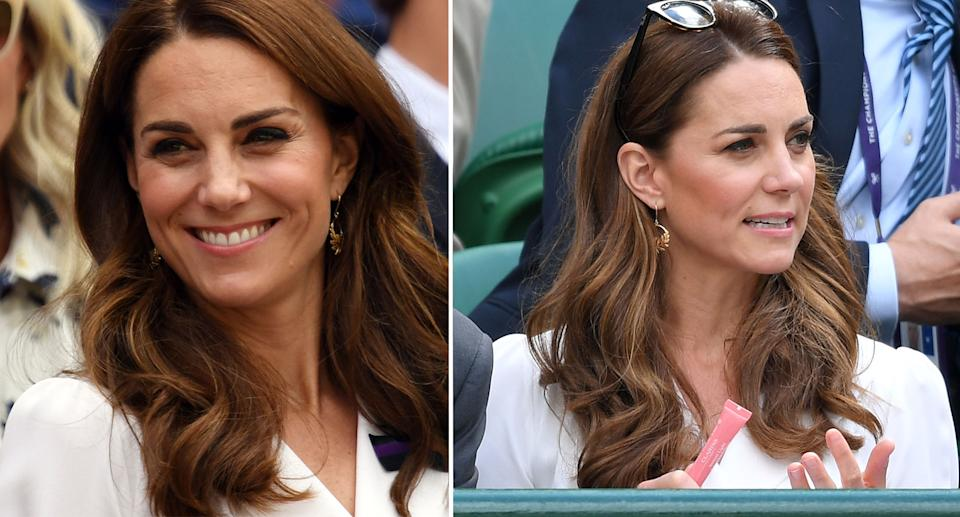 Kate was spotted using a Clarins' lip balm at Wimbledon on Tuesday. [Photo: Getty]