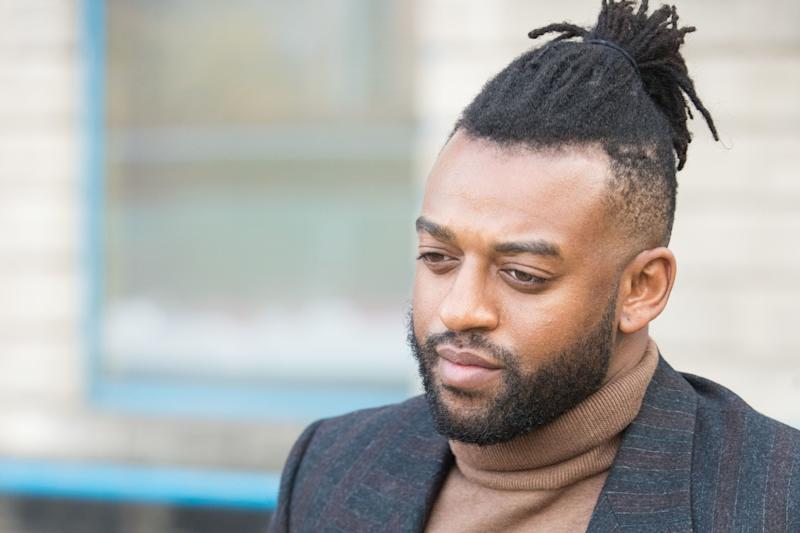Former JLS star Oritse Williams, 31, of Croydon, London, leaves Wolverhampton Crown Court where he is charged with rape.