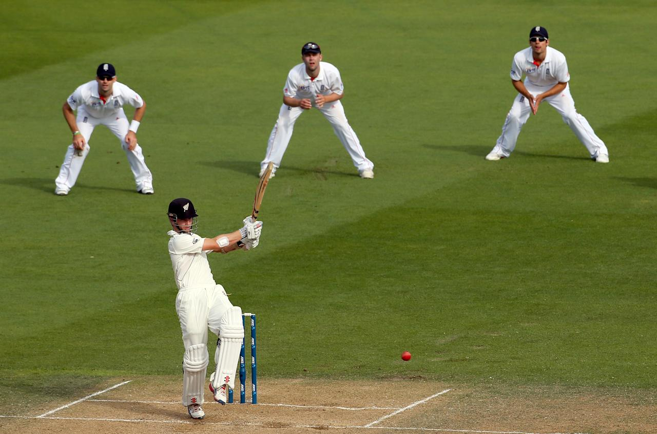 WELLINGTON, NEW ZEALAND - MARCH 16:  Kane Williamson of New Zealand hits four runs during day three of the second Test match between New Zealand and England at Basin Reserve on March 16, 2013 in Wellington, New Zealand.  (Photo by Phil Walter/Getty Images)
