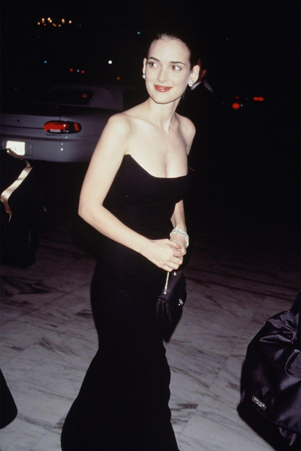 <p>Winona Ryder was timeless in this black strapless gown for the 1990 Academy Awards. </p>