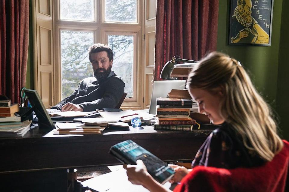 Ophelia has her first tutorial with Michael at St Luke's College, Cambridge. Pictured: Emmett Scanlan as Michael and Emily Reid as Ophelia in The Deceived.