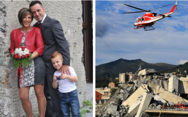 Roberto Robbiano, his wife Ersilia Piccinino and their son Samuele all died when the bridge collapsed - AFP