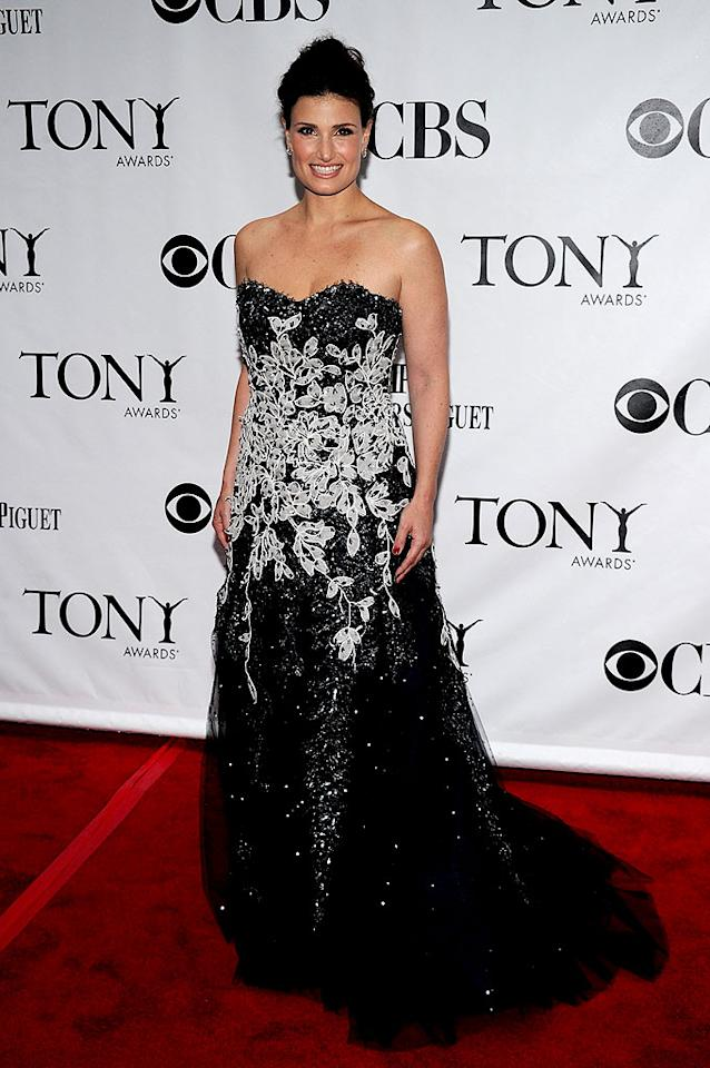"""Stage superstar Idina Menzel -- who originated the roles of Maureen in """"Rent"""" and Elphaba in """"Wicked"""" -- looked beyond beautiful in a bedazzled gown and updo despite not being escorted by her handsome hubby, Taye Diggs. Bryan Bedder/<a href=""""http://www.gettyimages.com/"""" target=""""new"""">GettyImages.com</a> - June 13, 2010"""