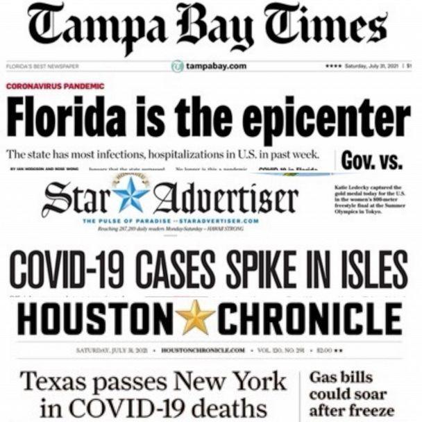 PHOTO: A composite image shows newspaper front pages conveying what is happening with regards to Covid-19 across the United States. (Various)