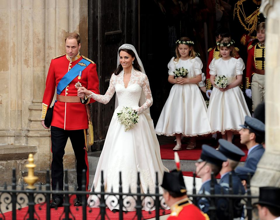 LONDON, ENGLAND - APRIL 29:  Their Royal Highnesses Prince William Duke of Cambridge (L) and Catherine Duchess of Cambridge (2nd to L) exit Westminster Abbey after their Royal Wedding followed by Maid of Honour Pippa Middleton with pageboys Master William Lowther-Pinkerton, Master Tom Pettifer and bridemaids The Lady Louise Windsor,The Hon. Margarita Armstrong-Jones, Miss Grace van Cutsem and Miss Eliza Lopes  on April 29, 2011 in London, England.  The marriage of the second in line to the British throne is to be led by the Archbishop of Canterbury and will be attended by 1900 guests, including foreign Royal family members and heads of state.  Thousands of well-wishers from around the world have also flocked to London to witness the spectacle and pageantry of the Royal Wedding.  (Photo by Ian Gavan/GP/Getty Images)