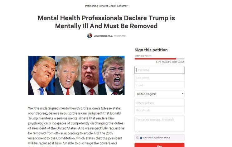 Dr Gartner set up the Change.org petition aimed at removing Mr Trump from power
