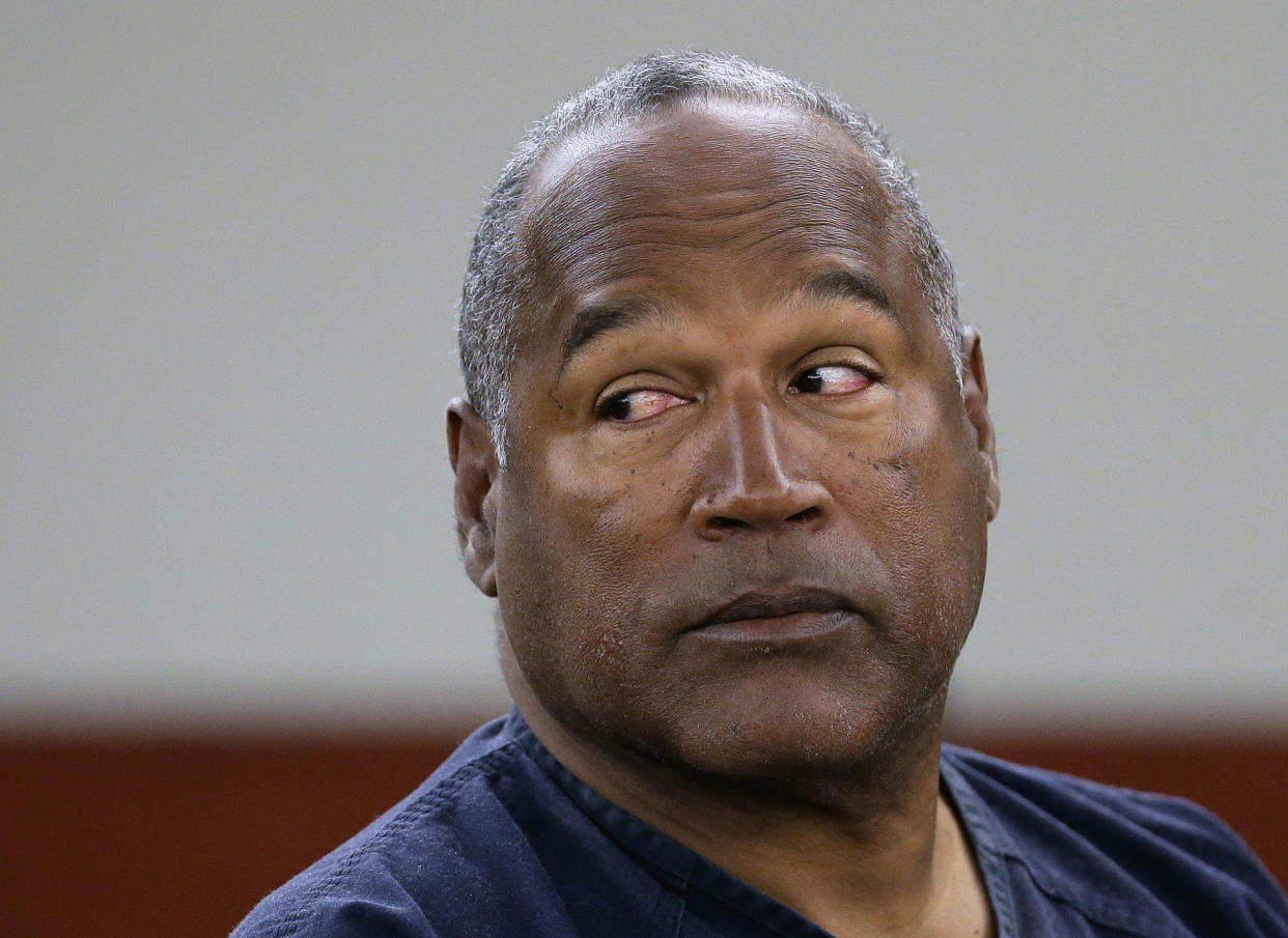 FILE - In this May 13, 2013, file photo, O.J. Simpson appears at an evidentiary hearing in Clark County District Court, in Las Vegas. Los Angeles police are investigating a knife purportedly found some time ago at the former home of Simpson, who was acquitted of murder charges in the 1994 stabbing deaths of his ex-wife Nicole Brown Simpson and her friend Ron Goldman. (AP Photo/Julie Jacobson, Pool, File)