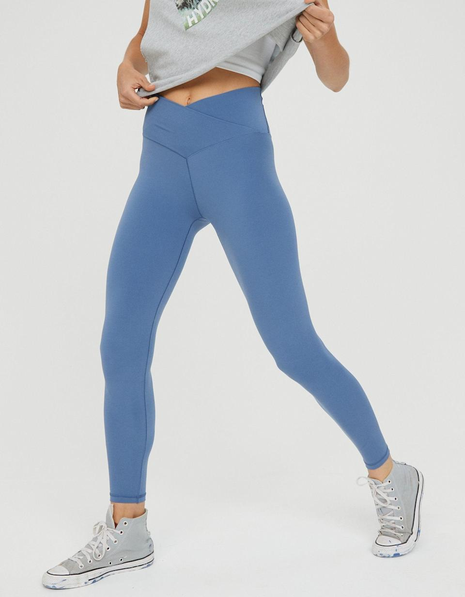 """<h2>Aerie Crossover Leggings</h2><br>Fashion writer, Emily Ruane, covered a restock of <a href=""""https://www.refinery29.com/en-us/aerie-crossover-leggings-viral-tiktok"""" rel=""""nofollow noopener"""" target=""""_blank"""" data-ylk=""""slk:Aerie's viral crossover leggings"""" class=""""link rapid-noclick-resp"""">Aerie's viral crossover leggings</a>; I bought a pair and included them in our monthly <a href=""""https://www.refinery29.com/en-us/what-to-buy-with-100-dollars"""" rel=""""nofollow noopener"""" target=""""_blank"""" data-ylk=""""slk:Shopping team MVPs"""" class=""""link rapid-noclick-resp"""">Shopping team MVPs</a>; now they're a top-carted reader buy from the past 30 days. The previously sold-out powdery blue hue was my personal favorite — I can attest that the quality is silky soft without being see-through and the crossover cut indeed wields the perfect amount of <em>oomph</em>-waist-snatching power.<br><br><em>Shop <strong><a href=""""https://www.ae.com/us/en/p/aerie/leggings/7-8-leggings/offline-real-me-high-waisted-crossover-legging/0708_5104_417"""" rel=""""nofollow noopener"""" target=""""_blank"""" data-ylk=""""slk:Aerie"""" class=""""link rapid-noclick-resp"""">Aerie</a></strong></em><br><br><strong>Aerie</strong> Real Me High Waisted Crossover Legging (Somber Navy), $, available at <a href=""""https://go.skimresources.com/?id=30283X879131&url=https%3A%2F%2Fwww.ae.com%2Fus%2Fen%2Fp%2Faerie%2Fleggings%2F7-8-leggings%2Foffline-real-me-high-waisted-crossover-legging%2F0708_5104_417"""" rel=""""nofollow noopener"""" target=""""_blank"""" data-ylk=""""slk:AE"""" class=""""link rapid-noclick-resp"""">AE</a>"""