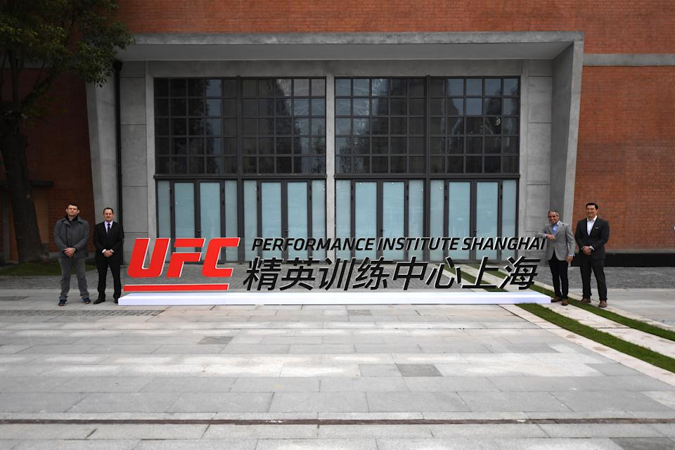 SHANGHAI, CHINA - NOVEMBER 20:  (L-R) Forrest Griffin, UFC Vice President Athlete Development, Lawrence Epstein, UFC Chief Operating Officer, Andrew Schleimer, UFC Chief Financial Officer and Kevin Chang, Vice President UFC Asia-Pacific pose for a photo during an onsite visit prior to the  UFC Performance Institute Press Conference on November 20, 2018 in Shanghai, China. (Photo by Jeff Bottari/Zuffa LLC/Zuffa LLC via Getty Images)