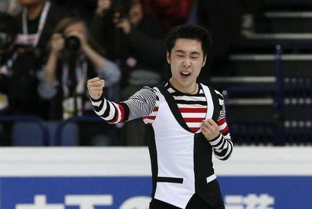 Figure Skating - ISU World Championships 2017 - Men's Free Skating - Helsinki, Finland - 1/4/17 - Boyang Jin of China reacts after his performance. REUTERS/Grigory Dukor
