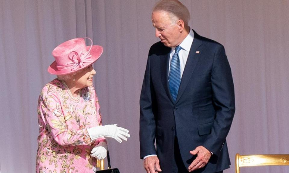 The Queen and Joe Biden during their meeting at Windsor Castle.