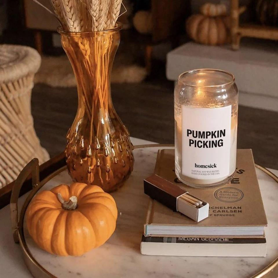 """<p><strong>Homesick Candles</strong></p><p>homesick.com</p><p><strong>$34.00</strong></p><p><a href=""""https://go.redirectingat.com?id=74968X1596630&url=https%3A%2F%2Fhomesick.com%2Fproducts%2Fpumpkin-picking-candle&sref=https%3A%2F%2Fwww.bestproducts.com%2Fhome%2Fg37377249%2Fbest-pumpkin-candles%2F"""" rel=""""nofollow noopener"""" target=""""_blank"""" data-ylk=""""slk:Shop Now"""" class=""""link rapid-noclick-resp"""">Shop Now</a></p><p>Leaf peeping, cider sipping, and <a href=""""https://www.bestproducts.com/lifestyle/g23118150/the-craziest-halloween-things-thatll-make-you-go-boo/"""" rel=""""nofollow noopener"""" target=""""_blank"""" data-ylk=""""slk:decorating for Halloween"""" class=""""link rapid-noclick-resp"""">decorating for Halloween</a>: Some fall activities never get old. </p><p>This Homesick candle pays homage to pumpkin picking (and subsequent pie baking) with its blend of nutmeg, ginger, and tonka bean, adding richness to the pumpkin base.</p>"""