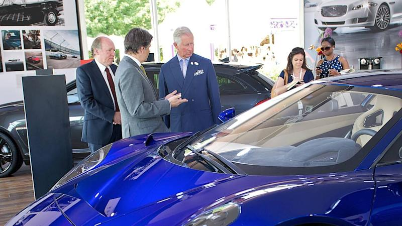 Prince Charles with Jaguar C-X75 Concept
