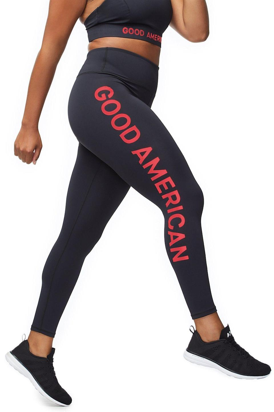 "<p>I am all about supportive, high-waisted leggings like these. I also love the reflective logo down the side of these black-and-red stunners.<br><a href=""https://fave.co/2ArVweA"" rel=""nofollow noopener"" target=""_blank"" data-ylk=""slk:Shop it:"" class=""link rapid-noclick-resp""><strong>Shop it:</strong> </a>The Core Power Legging, $99 (take 25% off with code EXTRA25), <a href=""https://fave.co/2ArVweA"" rel=""nofollow noopener"" target=""_blank"" data-ylk=""slk:goodamerican.com"" class=""link rapid-noclick-resp"">goodamerican.com</a> </p>"
