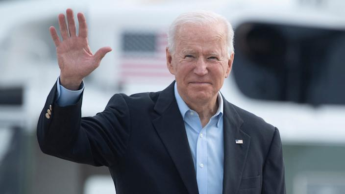 US President Joe Biden boards Air Force One at Andrews Air Force Base before departing for the UK and Europe to attend a series of summits on June 9, 2021, in Maryland. (Brendan Smialowski/AFP via Getty Images)