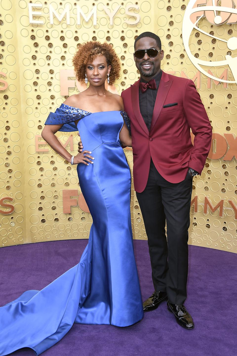 """<h1 class=""""title"""">Ryan Michelle Bathe in Zac Posen and Sterling K. Brown in Christian Louboutin shoes</h1><cite class=""""credit"""">Photo: Getty Images</cite>"""