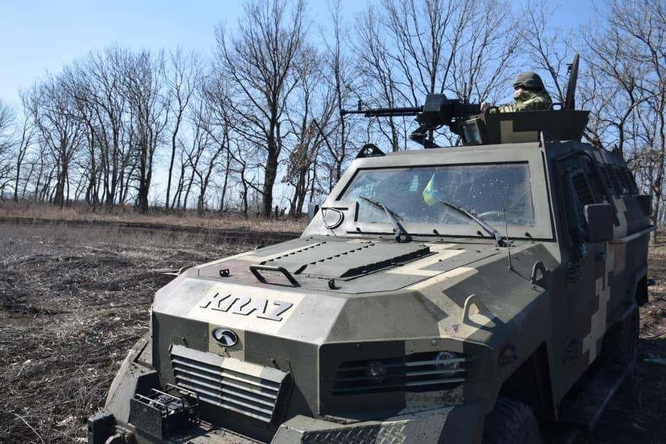 Kramatorsk border units affiliated with Ukrainian Armed Forces' Joint Forces Border Units patrol seen on April 12.