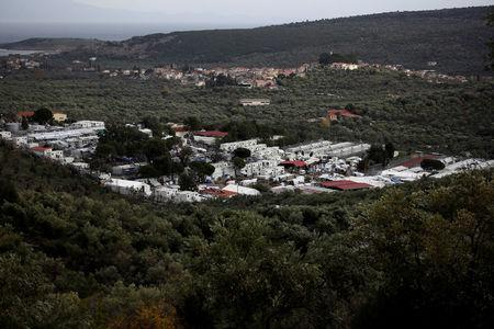 FILE PHOTO: General view shows the Moria camp for refugees and migrants on the island of Lesbos
