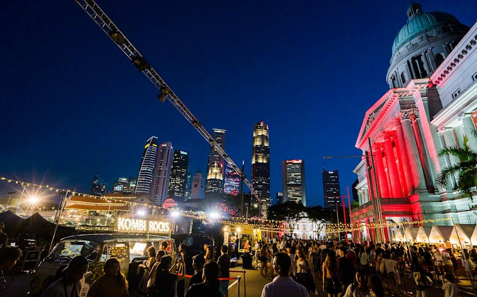 The festival village food stalls at Light to Night Festival 2020: Invisible Cities in Singapore. (PHOTO: National Gallery Singapore)