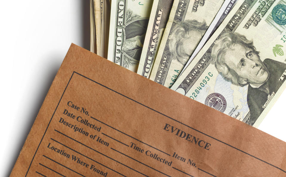 Evidence envelope with US dollar bills