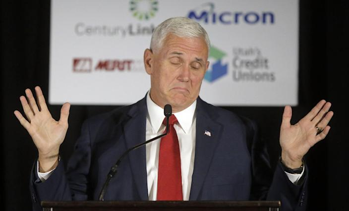 Trump's running mate, Indiana Gov. Mike Pence, speaking in Salt Lake City in September. (Photo: Rick Bowmer/AP)