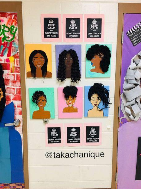 PHOTO: Chanique Davis had her 5th grade Art Club students work on a project called, 'keep Calm, Don't Touch My Hair,' with real hair extensions. (Courtesy Chanique Davis)