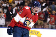 Florida Panthers left wing Mason Marchment reacts after scoring a goal during the second period in Game 2 of an NHL hockey Stanley Cup first-round playoff series against the Tampa Bay Lightning, Tuesday, May 18, 2021, in Sunrise, Fla. (AP Photo/Lynne Sladky)