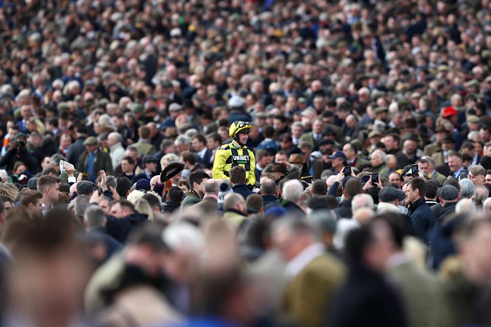 Some 60,000 people attended day one of Cheltenham Festival on 10 March: 13 days before the first coronavirus lockdown was imposed. (Michael Steele/Getty Images)