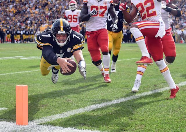 <p>Pittsburgh Steelers quarterback Ben Roethlisberger (7) dives for a touchdown in the fourth quarter against the Kansas City Chiefs at Heinz Field. The Chiefs won 42-37. Mandatory Credit: Philip G. Pavely-USA TODAY Sports </p>