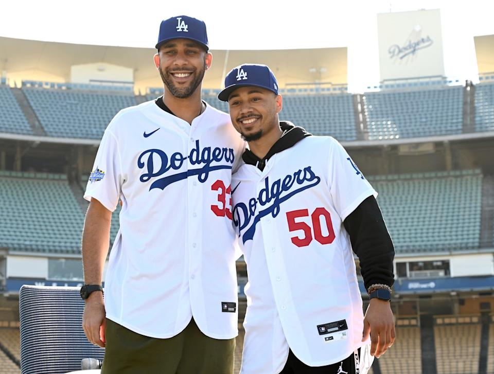 Dodgers' Mookie Betts and David Price are introduced at a press conference at Dodger Stadium on Feb. 12.