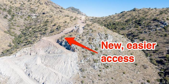 Mexico border wall thumb switchback road