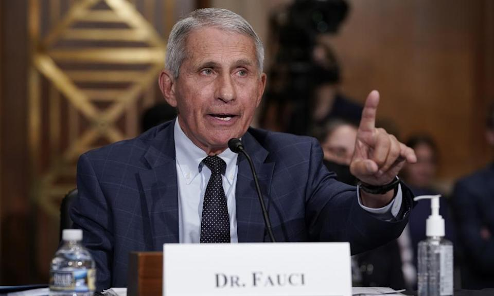 """Anthony Fauci, director of the U.S. National Institute of Allergy and Infectious Diseases, speaks during a hearing of Senate Health, Education, Labor and Pensions Committee titled """"The Path Forward: A Federal Perspective on the COVID-19 Response"""" in Washington, D.C., the United States, on July 20, 2021."""