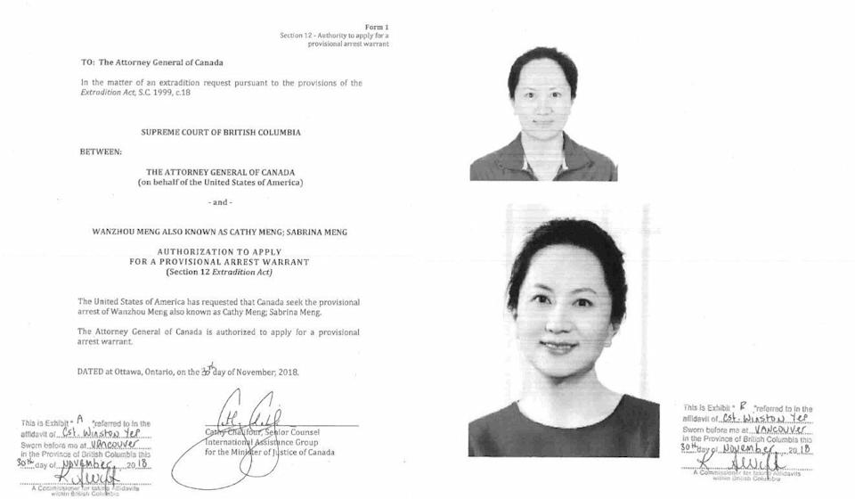 A copy of the authorisation from the Canadian Department of Justice for the attorney general to seek an arrest warrant for Meng Wanzhou. Photo: BC Supreme Court Exhibit