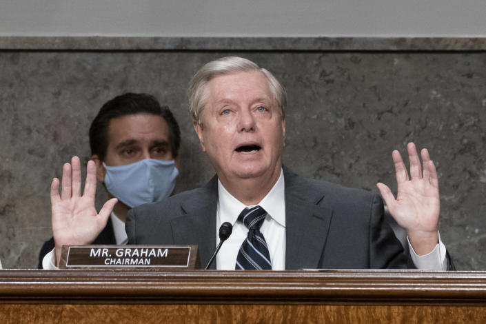 """Sen. Lindsey Graham, R-S.C., speaks during a Senate Judiciary Committee hearing on Capitol Hill in Washington, Wednesday, Sept. 30, 2020, to examine the FBI """"Crossfire Hurricane"""" investigation. (Ken Cedeno/Pool via AP)"""