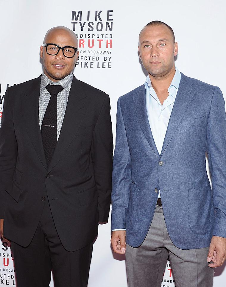 It looks a little like someone rolled wax statues of Yankees players Andruw Jones (left) and Derek Jeter on to the red carpet, but, in fact, these were actually the real guys. (8/2/2012)