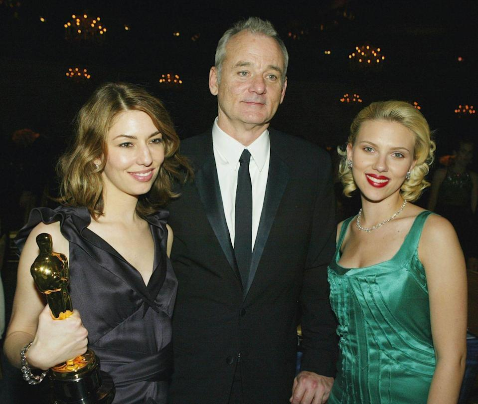<p>Director Sofia Coppola, actor Bill Murray and actress Scarlett Johansson pose at The Governors Ball after the 76th Annual Academy Awards at the Renaissance Hollywood Hotel on February 29, 2004 in Hollywood, California.</p>