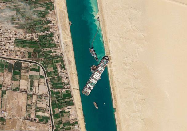 PHOTO: The Ever Given container ship is seen stranded in Egypt's Suez Canal in this March, 28, 2021 satellite image from Planet Labs, Inc. (Planet Labs, Inc./AP)