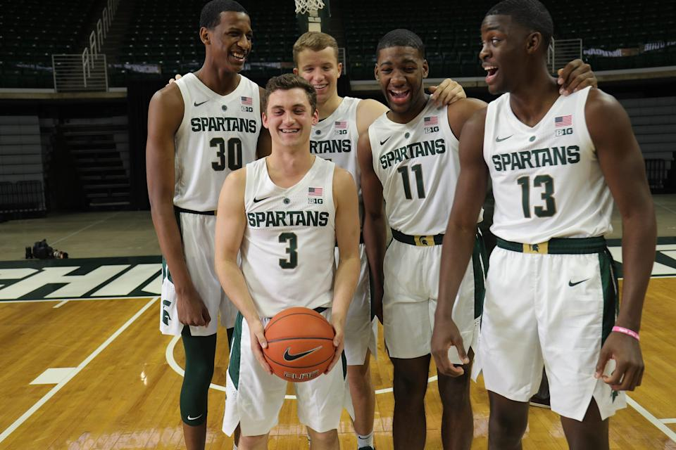 Michigan State freshmen Foster Loyer (3), Marcus Bingham Jr. (30), Thomas Kithier (15), Aaron Henry (11) and Gabe Brown (13) at media day Thursday, Oct. 25, 2018 at Breslin Center in East Lansing.