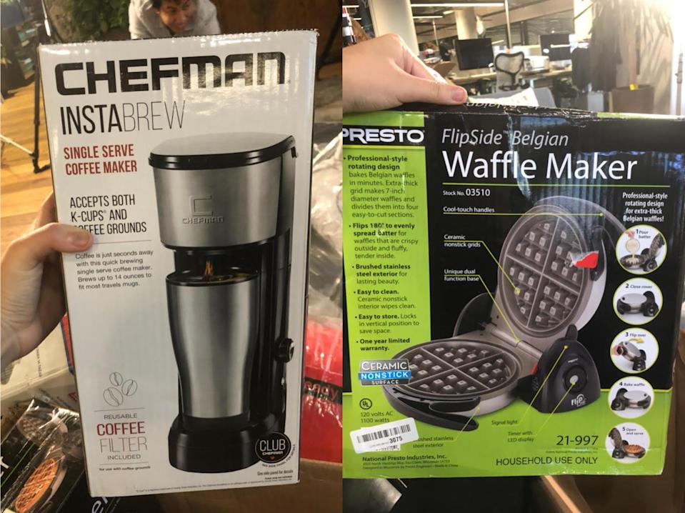 A coffee maker and a waffle maker from my Amazon returns look brand new.
